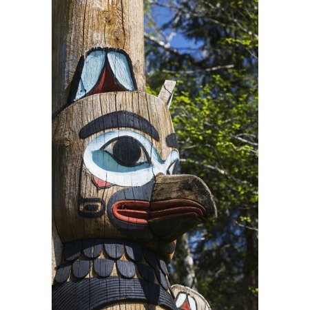 Detail of a raven figure carved into a totem pole Totem Bight State Historical Park Ketchikan Alaska United States of America Canvas Art - Kevin Smith Design Pics (12 x 19)