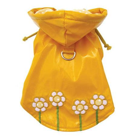 Polka Dots and Daisy Dog Raincoat Size: X-Large (14 - 16 L)