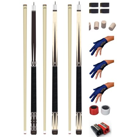 Champion Lot of 3 Billiards Gator Pool Cue Set - Quick Release Joint, Cuetec Glove