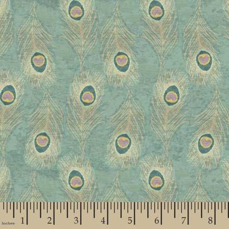Indian Peacock Feathers Fabric by the Yard