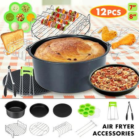 12Pcs Air Fryer Accessories Set Pizza Pan Cake Barrel Rack For 3.2~6.8QT//4.2-6.8QT Air Fryer Oven