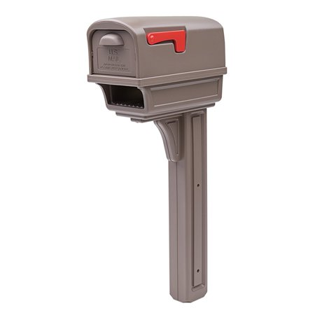 Gibraltar Mailboxes Gentry All-in-One Plastic Mailbox and Post Combo Kit, Mocha - Mailbox Kit