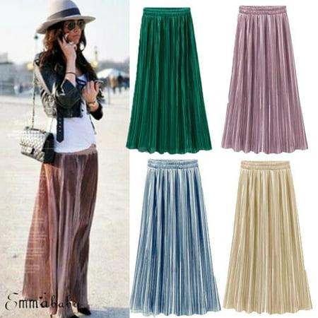 Lady Satin Dress Skirt Pleat Casual Metallic Sparkly Faux Silk Double Layer Midi Pleated Silk Sweater Dress