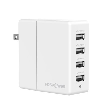 FosPower 4-Port USB Rapid Wall Charger 2 Ports 2.4A 31W Max for Apple iPhone \/ iPad \/ iPod, Android Smartphones - White