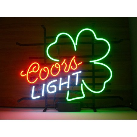 Desung Brand New Coors Light Shamrock Neon Sign Lamp Glass Beer Bar Pub Man Cave Sports Store Shop Wall Decor Neon Light 24