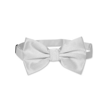 Vesuvio Napoli BOWTIE Solid SILVER GREY Color Men's Bow Tie for Tuxedo or Suit](Silver Bow Tie)