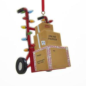 Online Shopper Delivery Boxes on Hand Truck Christmas Ornament - Hand Print Ornament