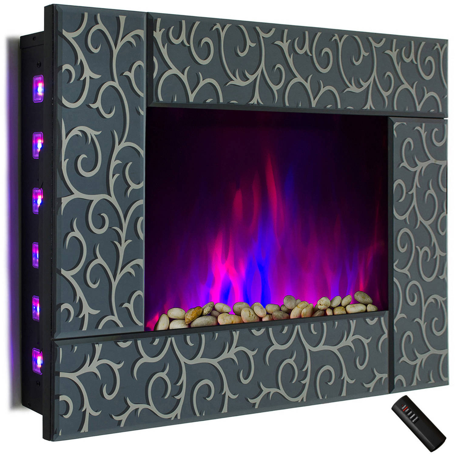 "AKDY FP0051 36"" 1500W Wall Mount Electric Fireplace Heater with Pebbles, Logs and Remote Control, Multicolor"