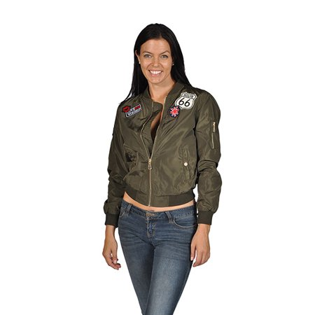 8da709735 Women's Fashion Long Sleeve Polyester Patched Bomber Jacket