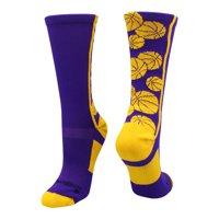Crazy Basketball Logo Crew Socks (Royal/Gold, Large) - Royal/Gold,Large