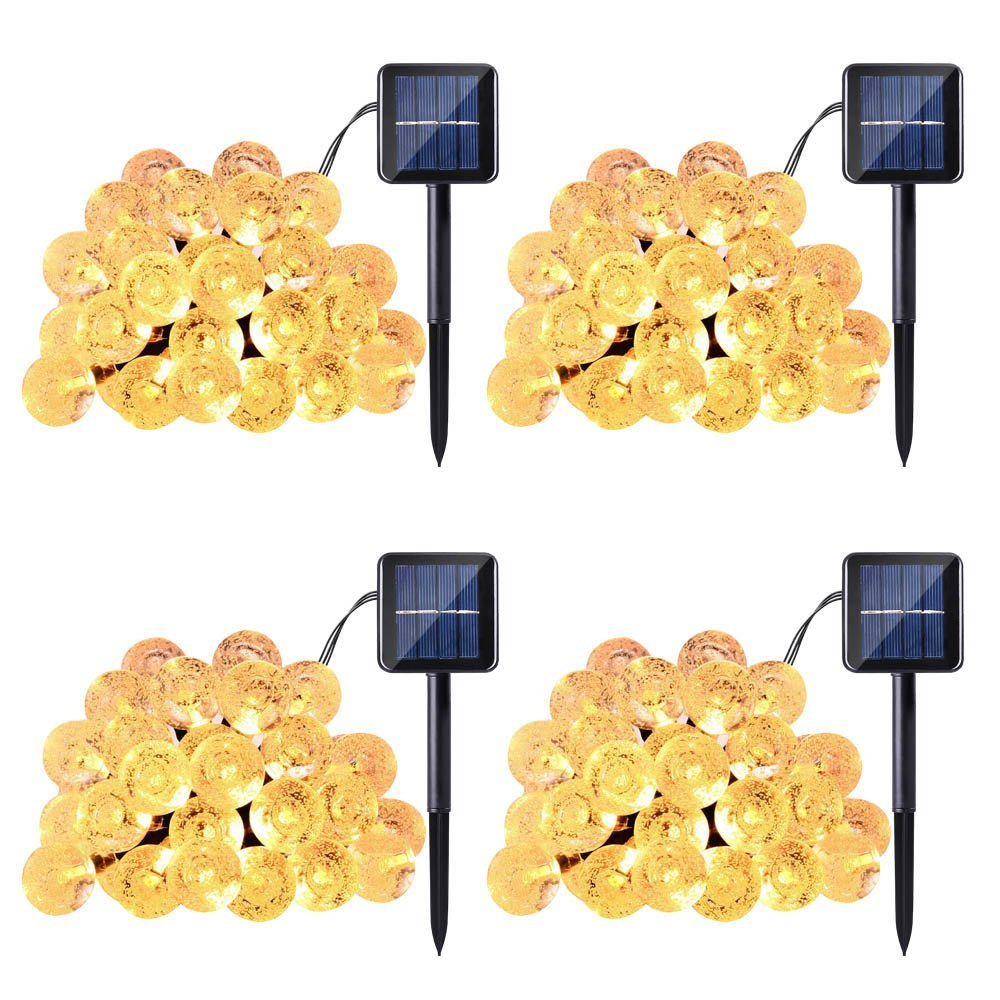 Qedertek 4 Pack Globe Solar String Lights, 19.7ft 30 LED Fairy Lights, Outdoor Solar Lights for Home, Gazebo, Patio, Lawn, Garden, Party and Holiday Decoration(Warm White)