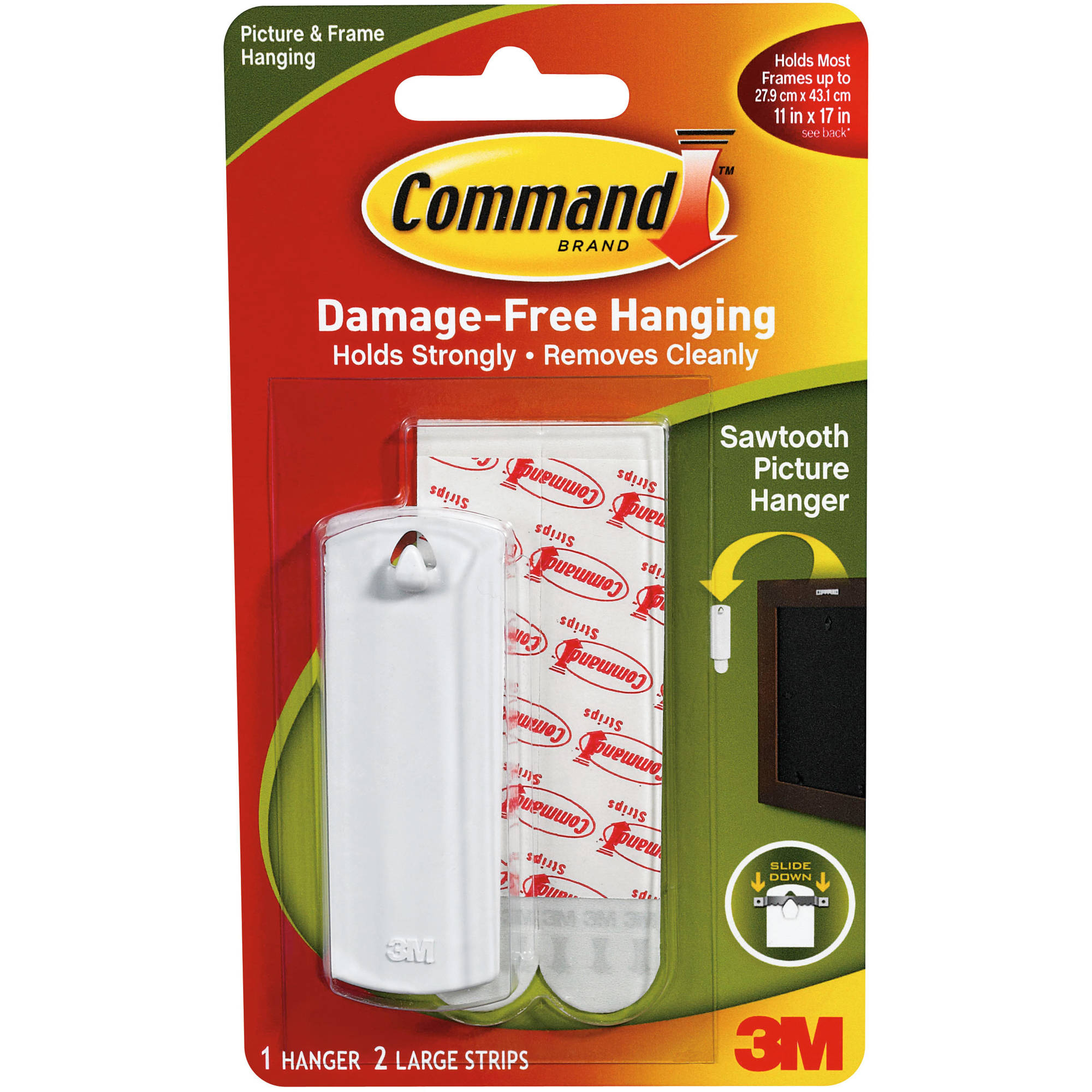 3M Command Strip Sawtooth Picture Hangers-1 Hanger & 2 Large Strips