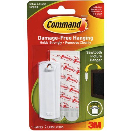 Command Strip Sawtooth Picture Hangers - 1 Hanger & 2 Large Strips