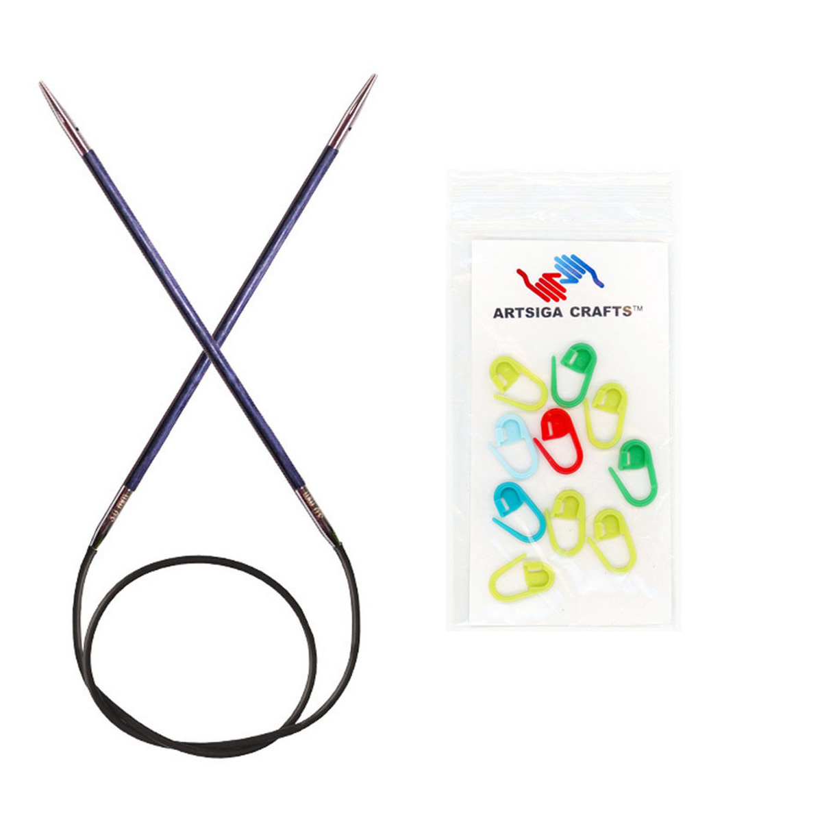 Knitter's Pride Bundle: Royale Circular 32-inch (80cm) Knitting Needles with 10 Artsiga Crafts Stitch Markers