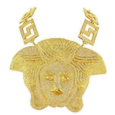 Gold Mens Diamond Pendant (Medusa Pendant For Men Iced Out 14k Gold Finish Simulated Diamonds)