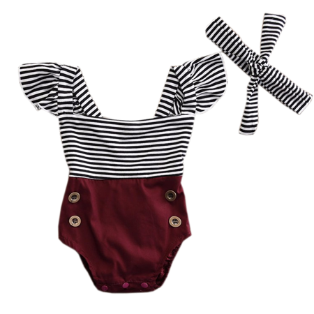 Styles I Love Infant Baby Girl Stripes Ruffle Backless Cotton Romper Sunsuit with Headband 2pcs Summer Outfit (100/12-18 Months)