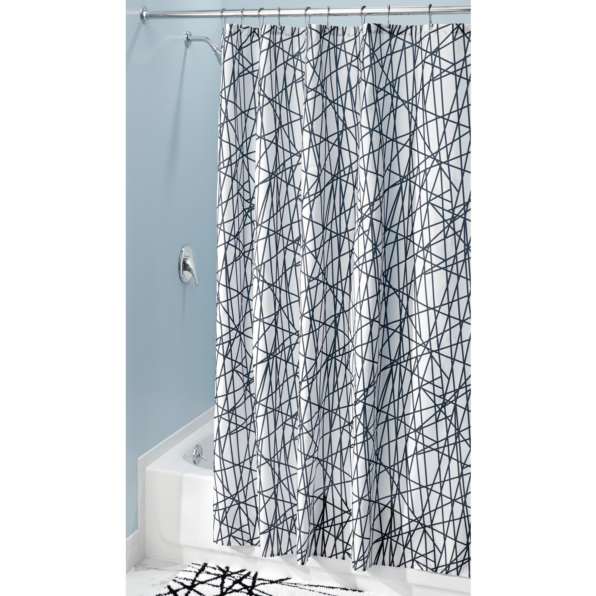 "InterDesign Abstract Fabric Shower Curtain, Standard 72"" x 72"", Black/White"