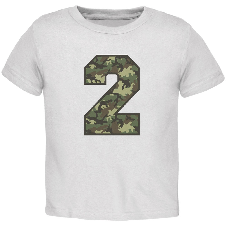 Birthday Kid Camo 2 2nd Second White Toddler T-Shirt