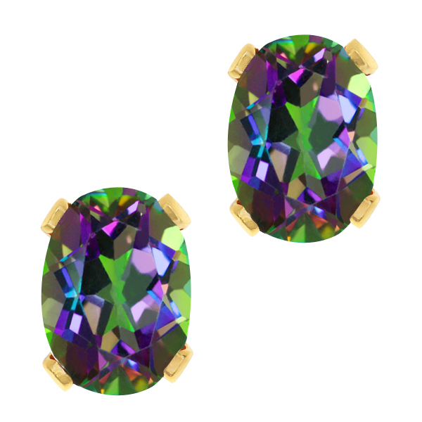 3.20 Ct Oval Shape Green Mystic Topaz Yellow Gold Plated Silver Stud Earrings