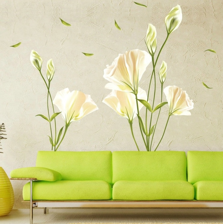 Outgeek Wall Stickers Removable Oil Proof Lily Pattern Wall Art Decals Mural Stickers for Home Bedroom Living Room Kindergarten Decor
