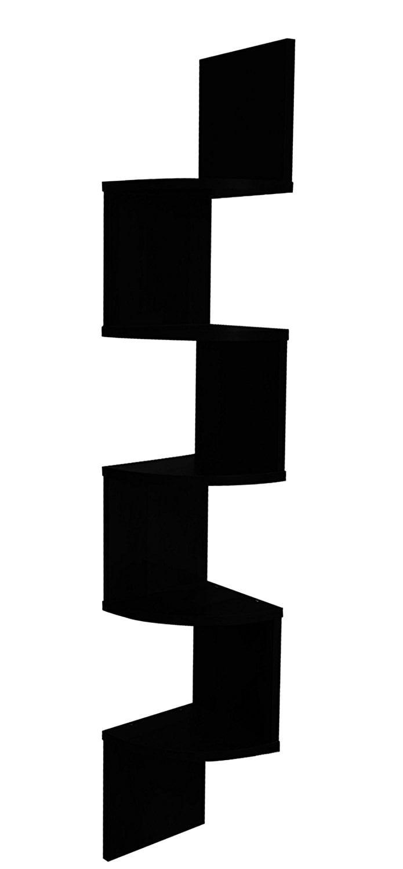 EWEI'S HomeWares 5 Tier Large Corner Wall Mount Shelf, Black by