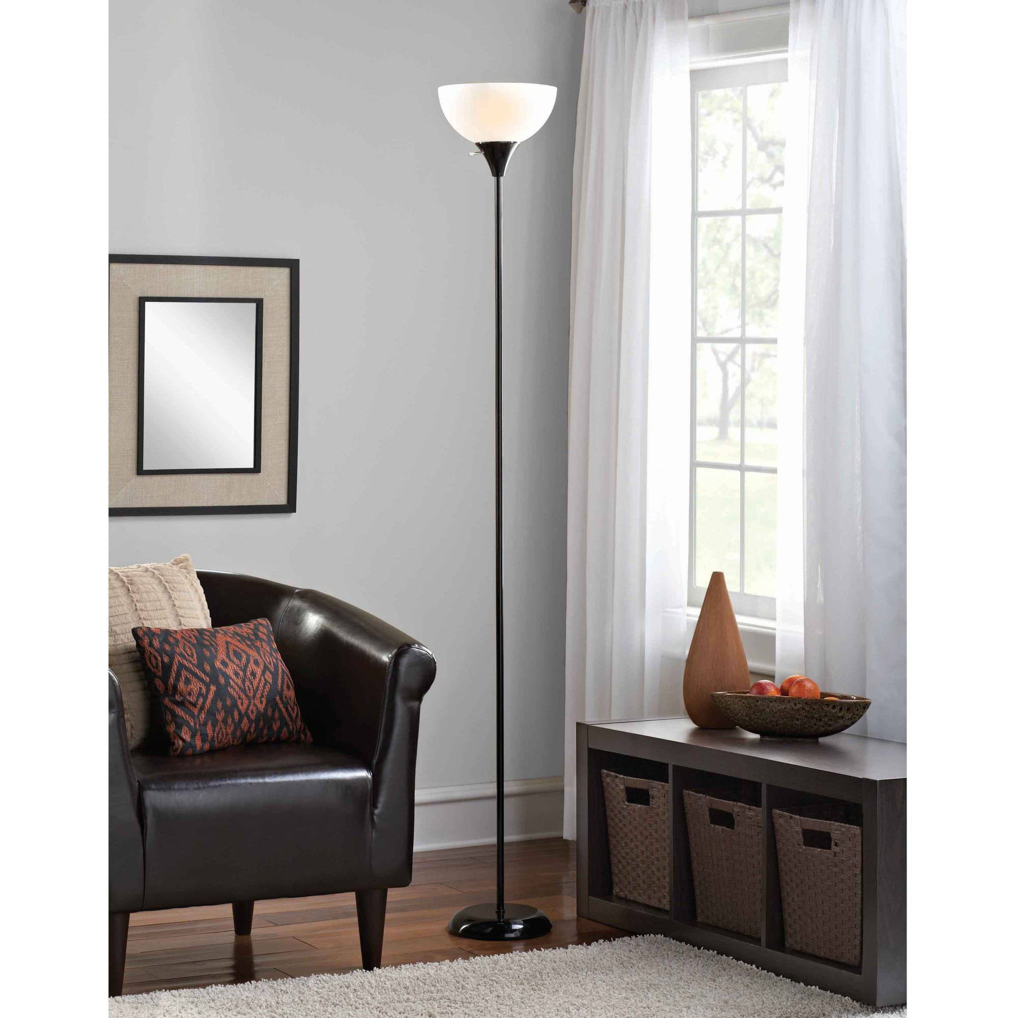 Mainstays Floor Lamp With Bulbs Included, Black   Walmart.com