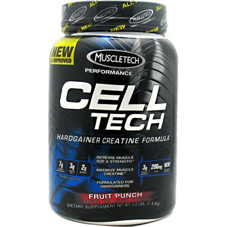 MuscleTech Cell Tech, Hardgainer Creatine formule, Punch aux fruits, 3,09 lbs (1,4 kg)