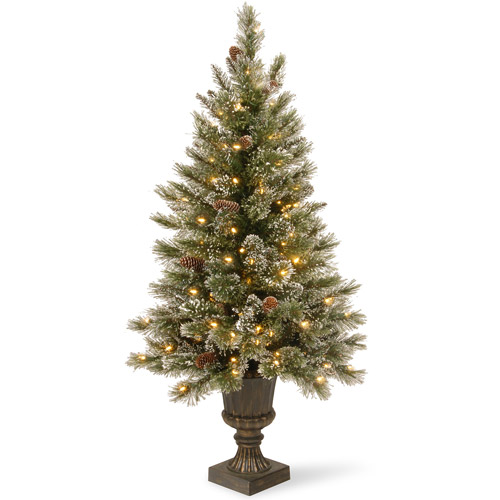 National Tree Pre-Lit 4' Glittery Bristle Pine Entrance Artificial Christmas Tree with White Tipped Cones in a Dark Bronze urn with 100 Clear Lights