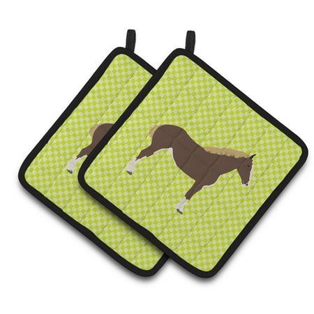 Horses Oven Mitt - Caroline's Treasures Percheron Horse Green Pair of Pot Holders