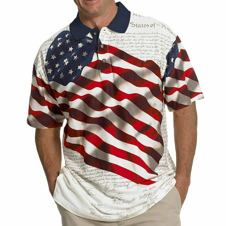 TheFlagShirt Men's Stars & Stripes Polo T-Shirt