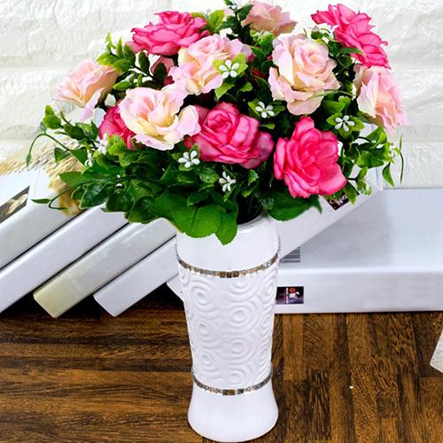 Girl12Queen 1 Piece 7 Heads Flowers Artificial Rose Wedding Party Cloth Rose Babysbreath Decor