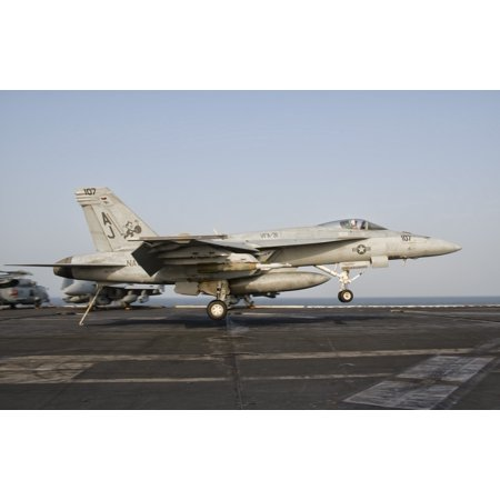 An Fa 18E Super Hornet Trap Landing Aboard Uss George Hw Bush Canvas Art   Giovanni Collastocktrek Images  18 X 12