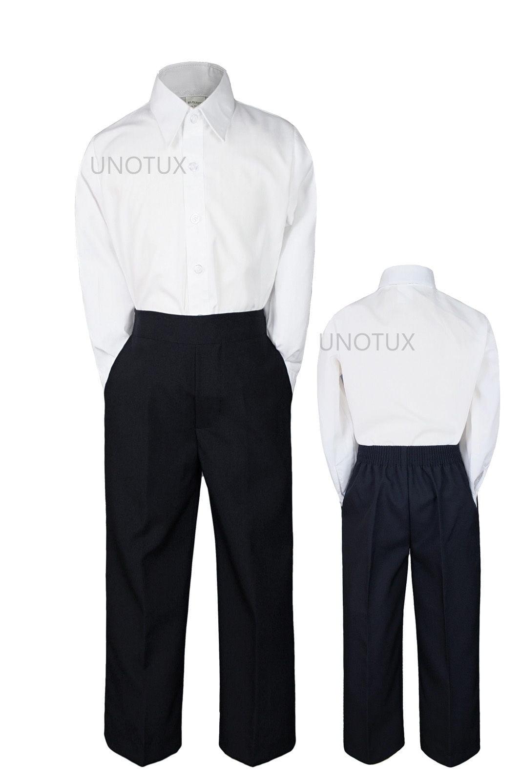 2pc Set Baby Boy Toddler Kid Teen Wedding White Black Pants Formal Suit sz S-20