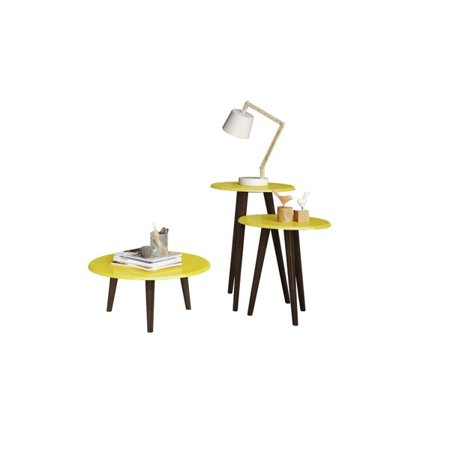 Carmine Mid Century - Modern End Tables - Set of 3 in Yellow with Solid Wood Splayed Legs - image 1 de 1