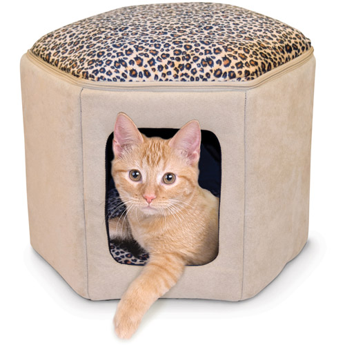 K&H Pet Products Kittty Sleephouse Cat Bed, Beige