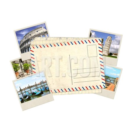 Memories of Italy. Old Post Card and Photos Print Wall Art By frenta