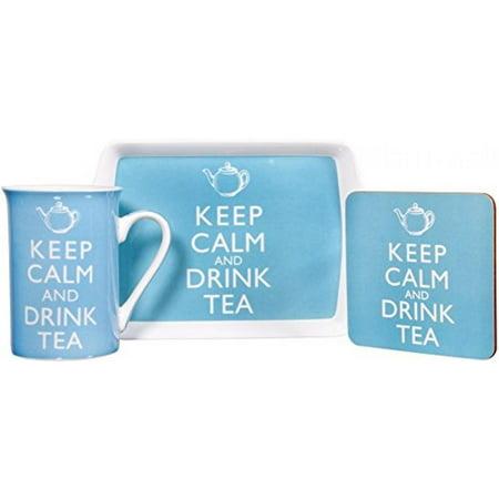 Keep Calm and Drink Tea Fine China Mug, Coaster and Tray Set ()
