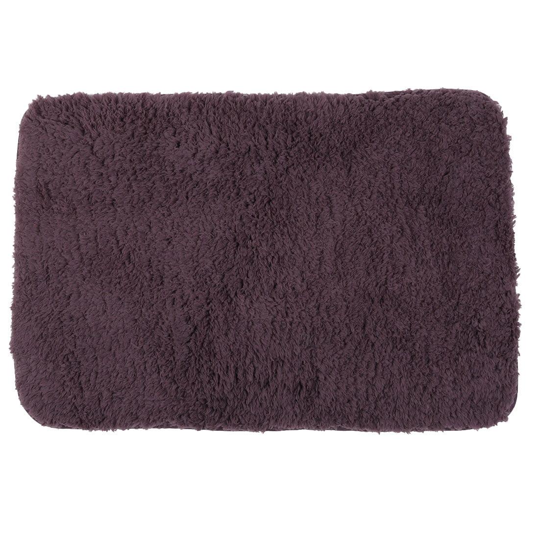 Bedroom Plush Rectangle Water Absorption Doormat Bathmat Dark Purple 60 x 40cm