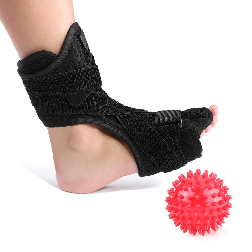 Plantar Fasciitis Night Splint Dorsal Foot Brace with Hard Spiky Massage Ball for Heel Pain Relief Drop Foot Support Fits Left and Right