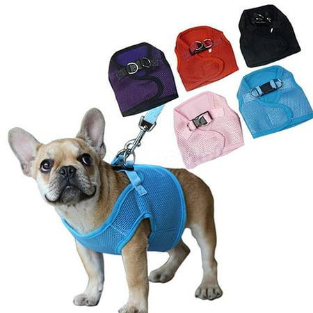 Polyhymnia 2Pc Pet Puppy Dog Soft Mesh Cloth Walking Collar Strap Vest Harness Apparel