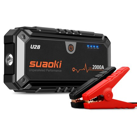 U28 2000A Peak Jump Starter Pack with USB Power, LED Flashlight and Smart Battery Clamps for 12V Car &