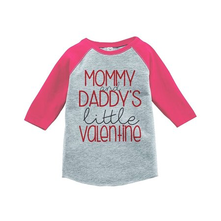 Custom Party Shop Girl's Little Valentine Happy Valentine's Day Pink Raglan - XL Youth (18-20) T-shirt