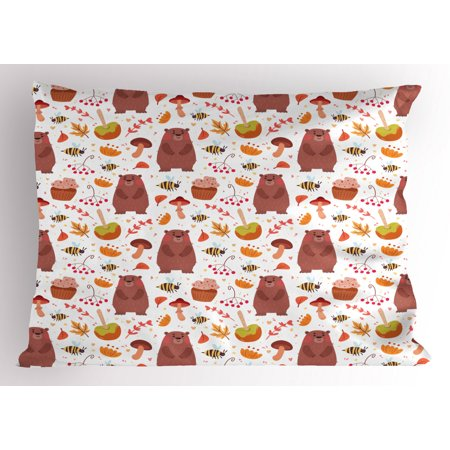 Caramel Apple Cupcakes Halloween (Bee Pillow Sham Autumn Forest Wildlife Elements as Cartoon Bear Bugs Plants with Cupcake Caramel Apple, Decorative Standard Size Printed Pillowcase, 26 X 20 Inches, Multicolor, by)