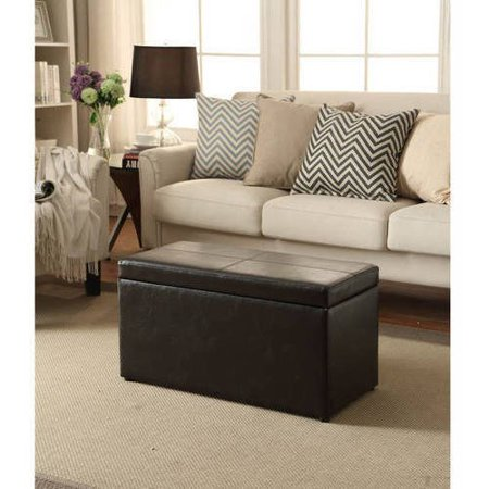 Better Homes And Gardens 30 Faux Leather Hinged Storage Ottoman Dark Brown