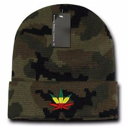 Camo Rasta Weed Leaf Pot Cannabis Marijuana Pot Cuffed Beanie Beanies Hat  Hats - Walmart.com 06314235fa1a