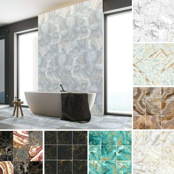 10 90pcs Tiles Wall Stickers Self Adhesive Marble Effect Bedroom Bathroom Kitchen Art Decal Home Decor Walmart Com Walmart Com
