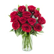 Arabella Farm Direct Bouquet of 12 Fresh Cut Red Roses With Vase