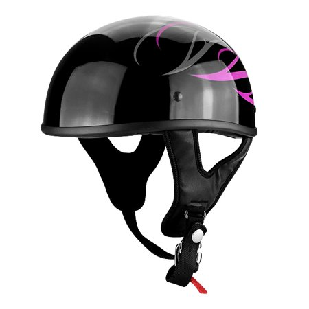 Half Motorcycle Helmet Gloss Black With Pink Tribal Flames