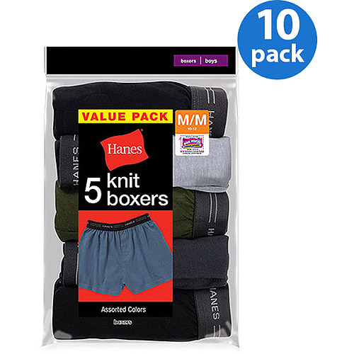 Hanes Boys' Knit Boxer, 10 Pack