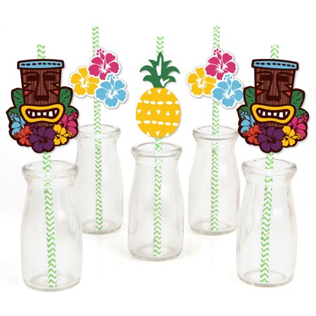 Tiki Luau - Paper Straw Decor - Tropical Hawaiian Summer Party Striped Decorative Straws - Set of 24